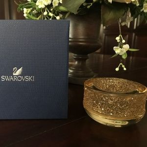 SWAROVSKI CRYSTAL SHIMMER TEA LIGHT HOLDER GOLD